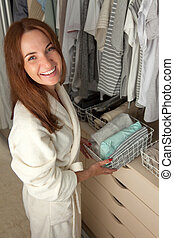 coisas, containers., mulher, beautifully, roupas, ponha, storage.