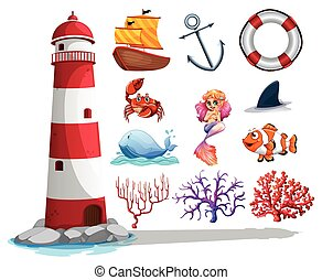 coisas, farol, outro, oceânicos