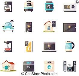 coisas, retro, jogo, ícones internet