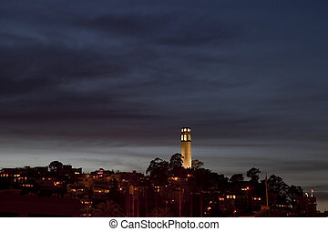 coit, francisco, san, nuit, horizon, temps, tour