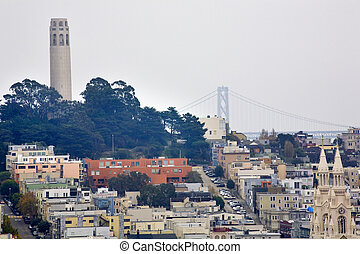 Coit Tower Neighborhood Saint Peter Paul Church Bridge San Francisco California