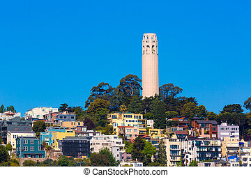 Coit Tower San Francisco California in a blue sky day USA