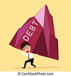 cojinete, concepto, grande, hombre de negocios, deuda, quiebra