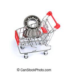 Cojinetes, Pelota, compras, aislado, carrito