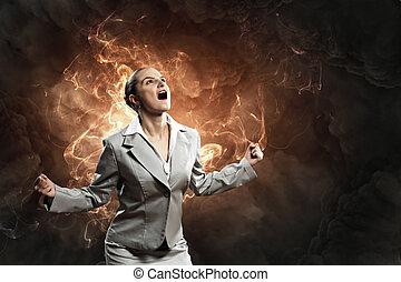 colère, femme affaires