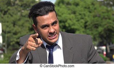 colère, hispanique, homme affaires