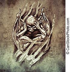 colère, tatouage, croquis, monstre, art