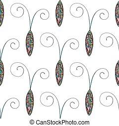 coléoptères, cafards, résumé, pattern., main, stylisé, arrière-plan., vecteur, dessiné