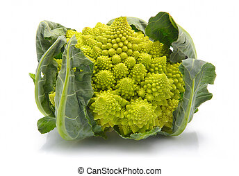 col, bróculi, aislado, romanesco