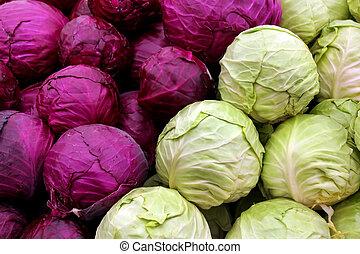 col, púrpura, blanco