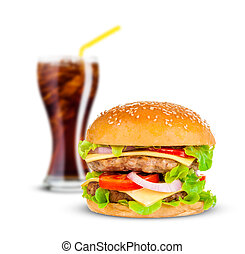 Cola and Big hamburger on white background