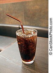 Cola and ice in Glass of drink.