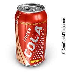cola, bebida, em, metal pode