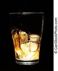cola, bebida, ligado, experiência preta