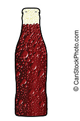 Bubbles and froth in a fizzy drink bottle over a white background.