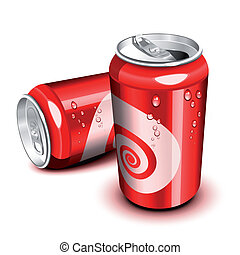 Cola can - Opened and closed red cola can