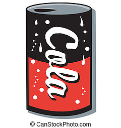 Cola can, soda can, or pop can clip art graphic.