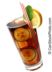 Cola Cocktail - Cola cocktail with lemon and mint garnish