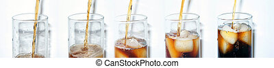 Cola Collage - Five stages of pouring cola