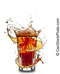 Cola drink - Ice cola drink with splash, isolated on white ...