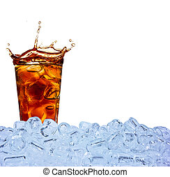 Cola drink in glass with ice cubes, isolated on white...