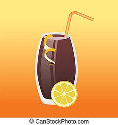 cola drink, lemon, orange background
