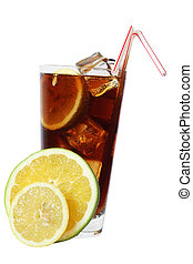Cola Drink - Cola drink with citrus and straws