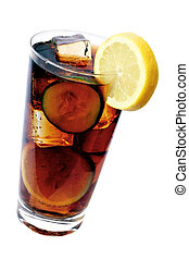 Cola Drink - Glass of cola with lemon garnish and ice