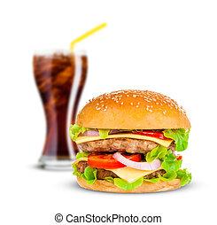 cola, en, groot, hamburger, op wit, achtergrond