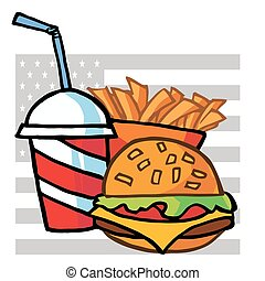 Cola, French Fries And Cheeseburger