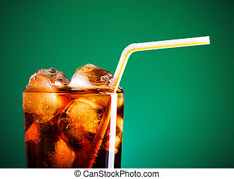 Cola Glass - glass of cola with ice and straw on green ...