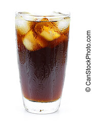 Cola glass with ice cubes on a white background