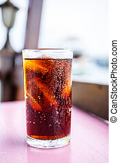 Cola in a glass of water.