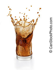 cola in a glass on a white background