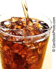 cola, in, glas, kop, met, frisdrank, gespetter