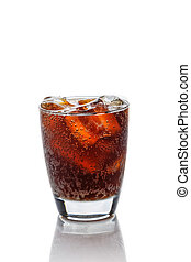 Cola in glass with ice cubes on a white background