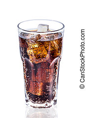 Cola in glass with ice isolated  on white background .