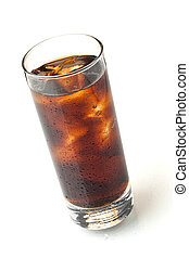 Cola in highball glass, above view