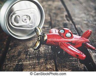 cola, kan, och, leksak hyvla