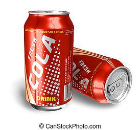 cola, metal, latas, bebidas