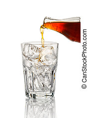Cola pouring in a glass on white background