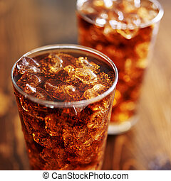 cola soft drinks with ice