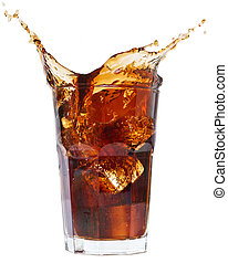 cola splash on a white - Ice cube droped in cola glass and ...