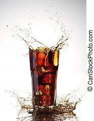 cola splash on a white