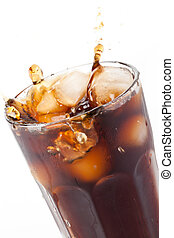 cola splash with ice