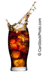 Cola splashing - Ice cube droped in cola glass and cola...