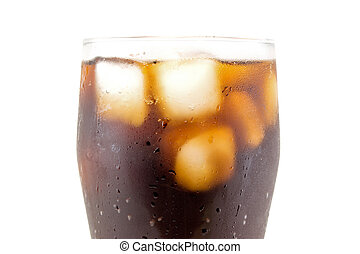 Cola with ice cube in glass closeup isolated on white...