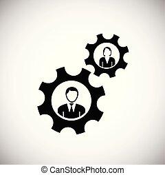 colaboração, branca, engrenagens, fundo, equipe