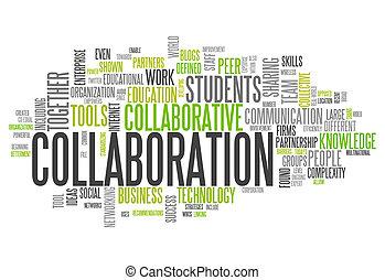 colaboração, palavra, nuvem