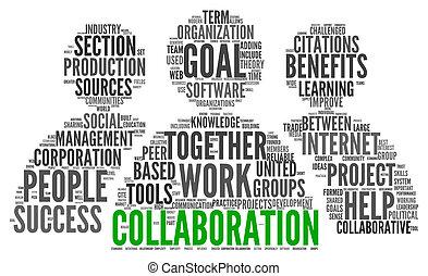 colaboración, concepto, en, palabra, etiqueta, nube